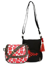 Set Of 2 Canvas Sling Bags - By