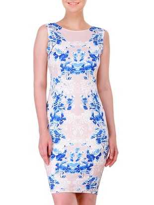 white printed bodycon dress