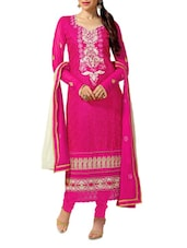 Pink Embroidered Satin And Cotton Suit Set - Khushali