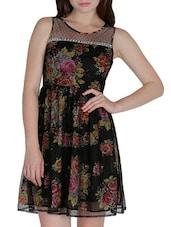 Black Polyegeorgette Floral Print Dress - By