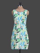 Digital Printed Sleeveless Silk Dress - HEART MADE