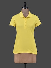 Solid Yellow Polo Neck T-shirt - Trend 18