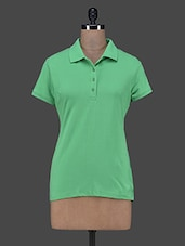 Solid Green Polo Neck T-shirt - Trend 18
