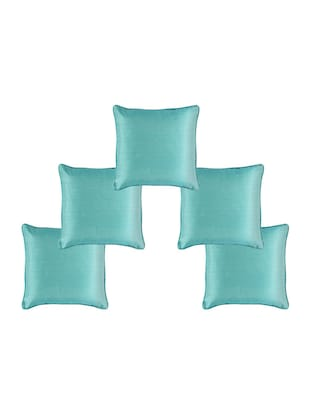 Set of 5 Polyester Solid Turquoise Cushion Cover