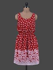 Polka Dot & Floral Print Elastic Waist Chiffon Dress - By