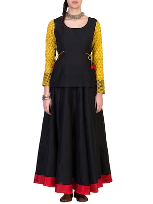 Black cotton silk top and skirt set