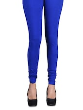 Solid Blue Cotton Leggings - By
