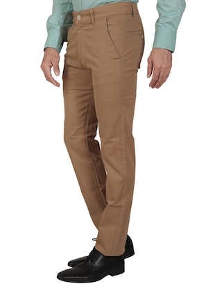 solid brown cotton formal trouser - 11668683 - Standard Image - 2