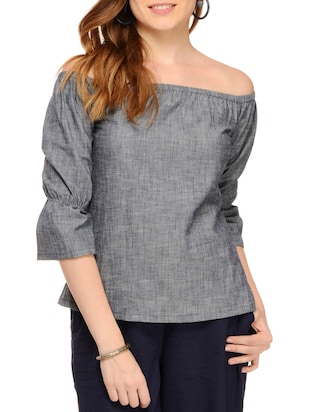 grey cotton off shoulder top