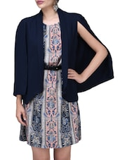 Open Sleeves Navy Blue Summer Jacket - By