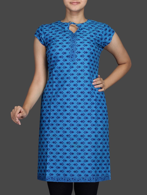 Blue Printed Short Sleeve Cotton Kurta - Sutee