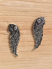 Silver Metallic Studded Feather Earrings - By