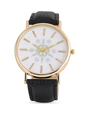 Black Faux Leather Watch With Round Dial - Infuzze