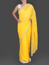 Yellow Pure Georgette Gota Patti Saree - K R Fashion