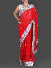 Red Pure Georgette Gota Patti Saree - K R Fashion