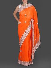 Orange Pure Georgette Gota Patti Saree - K R Fashion