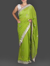 Sap Green Georgette Gota Patti Saree - K R Fashion