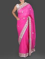 Pink Pure Georgette Gota Patti Saree - K R Fashion