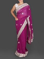 Wine Purple Georgette Gota Patti Saree - K R Fashion