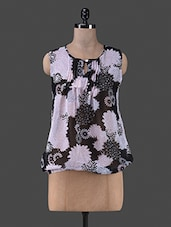 White Floral Printed Polyester Top - Vastrasutra- Exclusive