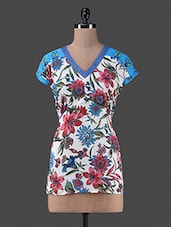 Multicolour Printed Cotton V Neck Top - By