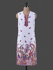 Multicolour Printed Poly Cotton Sleeveless Kurti - By