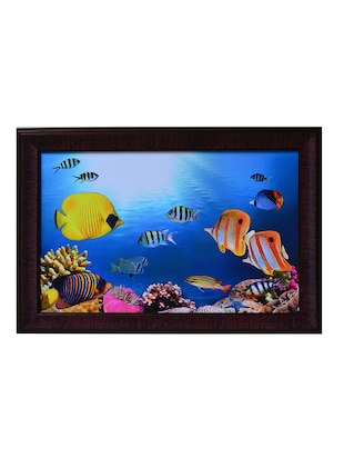 Multicolour 3D sea life view synthetic wood framed UV art print