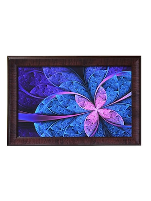 Blue leaf shaped synthetic wood framed UV art print
