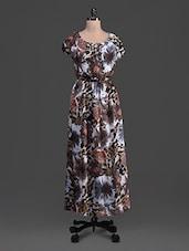 Floral Print Short Sleeves Chiffon Maxi Dress - Feyona