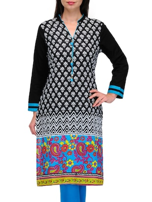 Long sleeves printed cotton kurta