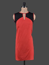 Red Sleeveless Dress With Keyhole - Klick2Style