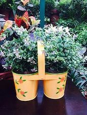 Yellow Metal Two Joined Buckets Planter - Gradina Dekor