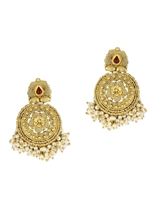 Embellished Gold Ethnic Earrings with Bead Clusters -  online shopping for Sets