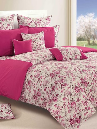 Set of 4 Magenta and Off White Colour Bed in a Bag