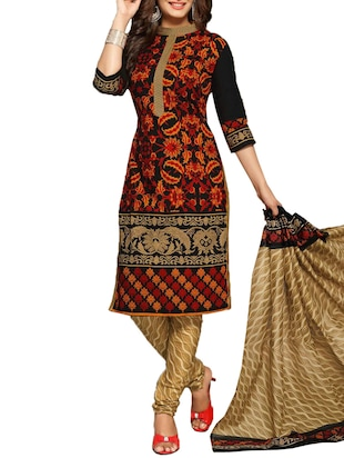 black cotton printed unstitched suit set