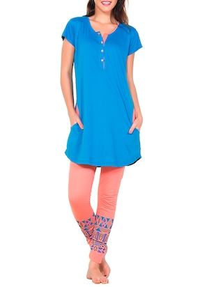 blue and peach printed hosery pyjama set -  online shopping for nightwear sets