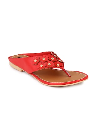 red leatherette sandal