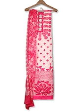 Pink And White Embroidered Unstitched Suit Set - By