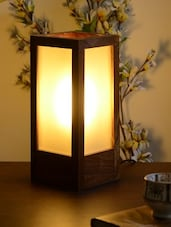 Brown Wooden Glass Contemporary Table Lamp - Unravel India