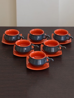 Multi-coloured ceramic matt cup saucer set