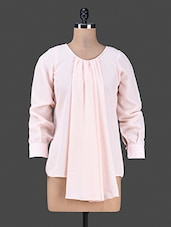 Long Sleeve Round Neck Ruffle Solid Pink Color Top - Bumpkin