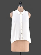 Solid Sleeveless Poly Georgette Shirt - By