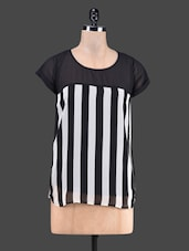 Monochrome Stripe Print Short Sleeve Top - Stylechiks
