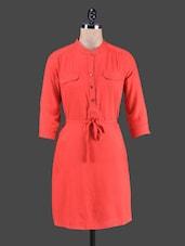Solid Red Color Mandarin Color Quarter Sleeve Dress - Stylechiks