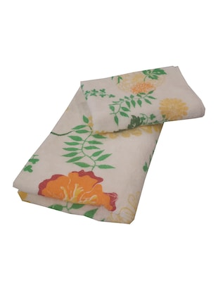 beige cotton set of hand towel and bath towel