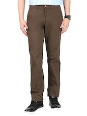 brown cotton casual trouser -  online shopping for Casual Trousers