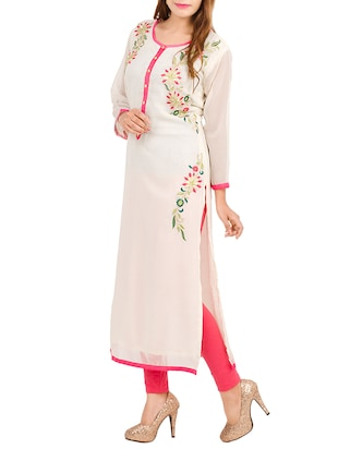 off white  georgette embroidered kurta