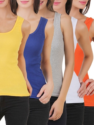 multi colored cotton tank tee set of 5 - 11707304 - Standard Image - 11