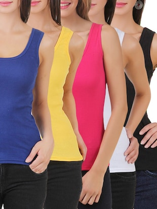 multi colored cotton tank tee set of 5 - 11707306 - Standard Image - 11