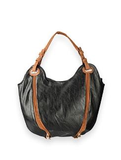 Black Double Zipper Front Style Bag - Lino Perros